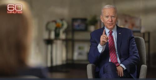 "This image captured from the website of U.S. television network CBS shows Democratic presidential candidate Joe Biden speaking in an interview with CBS News' ""60 Minutes"" that was broadcast on Oct. 25, 2020. (PHOTO NOT FOR SALE) (Yonhap)"
