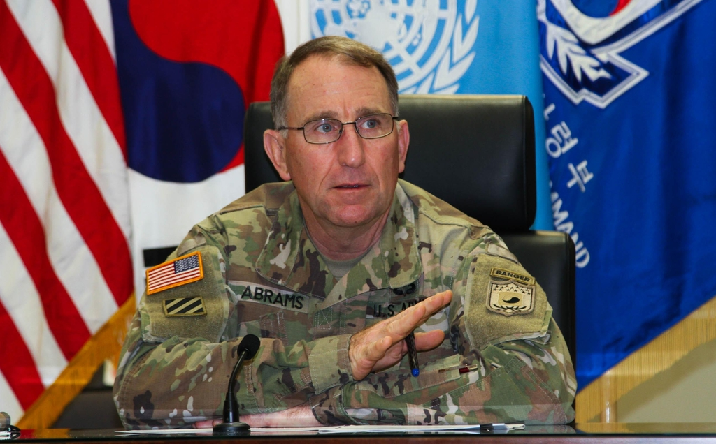 U.S. Forces Korea Commander Gen. Robert Abrams speaks during a press interview in Seoul on Nov. 20, 2020, in this photo provided by his office. (PHOTO NOT FOR SALE) (Yonhap)