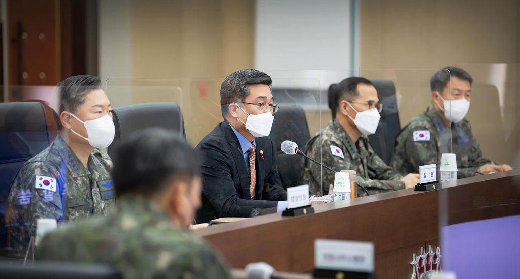 Defense Minister Suh Wook (3rd from R) speaks during a biannual meeting on the transfer of wartime operational control (OPCON) in Seoul on Dec. 28, 2020, in this photo provided by the defense ministry. (PHOTO NOT FOR SALE) (Yonhap)