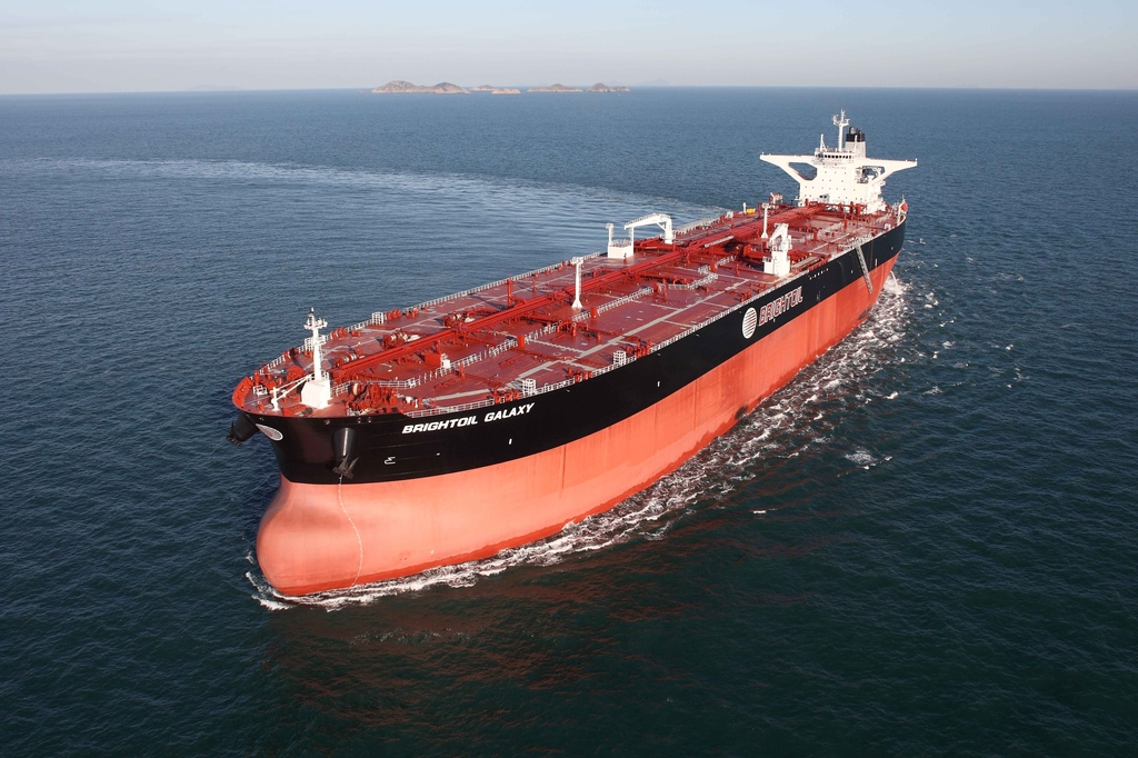 This photo, provided by Korea Shipbuilding & Offshore Engineering Co. on Jan. 12, 2020, shows an oil tanker built by Hyundai Heavy Industries Co. (PHOTO NOT FOR SALE) (Yonhap)