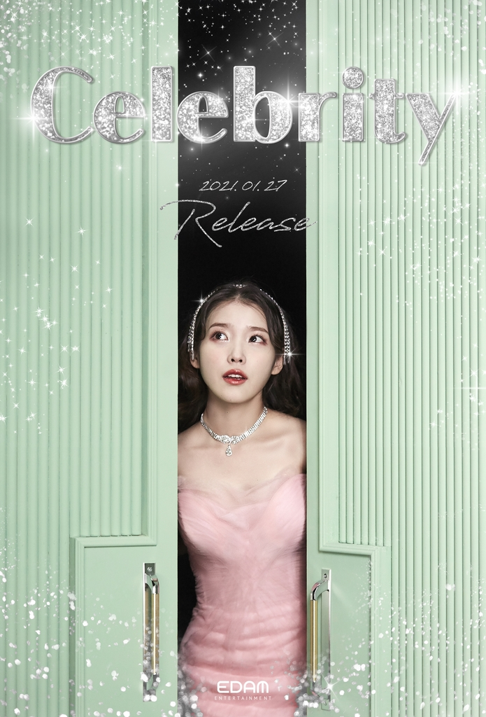 "This photo, provided by Edam Entertainment on Jan. 15, 2021, shows a teaser photo for singer IU's upcoming single ""Celebrity."" (PHOTO NOT FOR SALE) (Yonhap)"