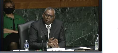 The captured image from the website of the Senate Armed Services Committee shows Defense Secretary Lloyd Austin speaking in his senate confirmation hearing held in Washington on Jan. 19, 2021. (PHOTO NOT FOR SALE) (Yonhap)
