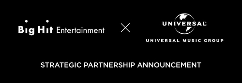 This image, provided by Big Hit Entertainment and Universal Music Group, shows a screenshot for a strategic partnership announcement between the two companies made public on Feb. 18, 2021. (PHOTO NOT FOR SALE) (Yonhap)