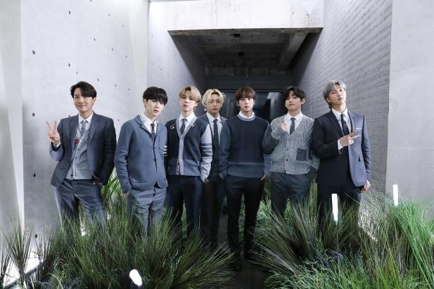 "This photo, provided by Big Hit Entertainment on Feb. 24, 2021, shows BTS on a set for ""MTV Unplugged."" (PHOTO NOT FOR SALE)(Yonhap)"