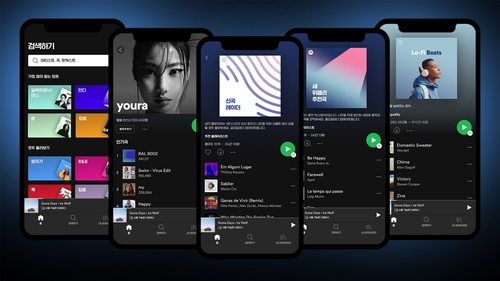 This file image, provided by Spotify Technology SA on Feb. 2, 2021, shows its music streaming service. (PHOTO NOT FOR SALE) (Yonhap)