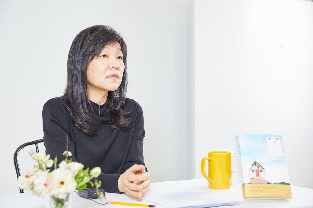 This photo, provided by Changbi on March 3, 2021, shows novelist Shin Kyung-sook taking part in an online press conference for her new book. (PHOTO NOT FOR SALE) (Yonhap)