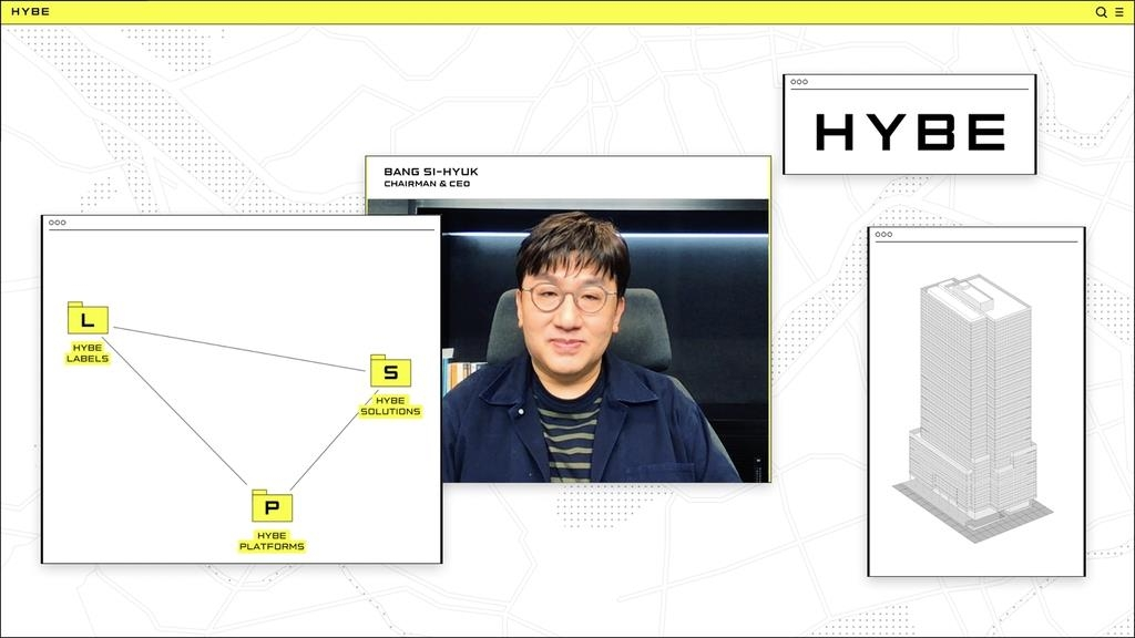 This photo, provided by Big Hit Entertainment, shows a screenshot of an online brand showcase session hosted by company founder and chief executive Bang Si-hyuk on March 19, 2021. (PHOTO NOT FOR SALE) (Yonhap)