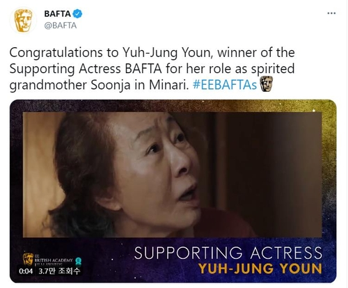 "This image from the Twitter account of the British Academy of Film and Television Arts (BAFTA) shows Youn Yuh-jung's victory for best supporting actress for her role in ""Minari."" (PHOTO NOT FOR SALE) (Yonhap)"