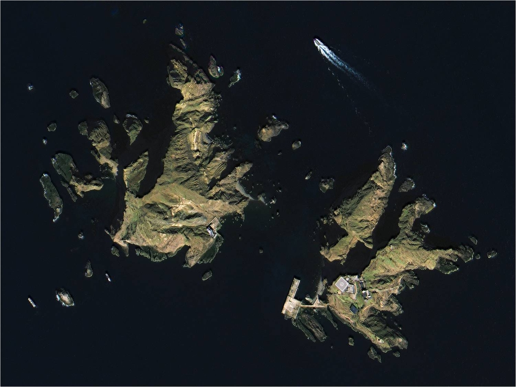 This photo captured by South Korea's next-generation midsized satellite on March 31, 2021, and provided by the Ministry of Science and ICT on May 4, shows the country's easternmost islets of Dokdo, 220 kilometers east of the Korean Peninsula. (PHOTO NOT FOR SALE) (Yonhap)