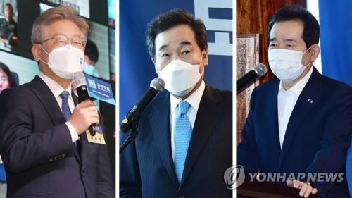 These photos show (from L) Gyeonggi Province Gov. Lee Jae-myung, ex-Prime Minister Lee Nak-yon and ex-Prime Minister Chung Sye-kyun. (Yonhap)