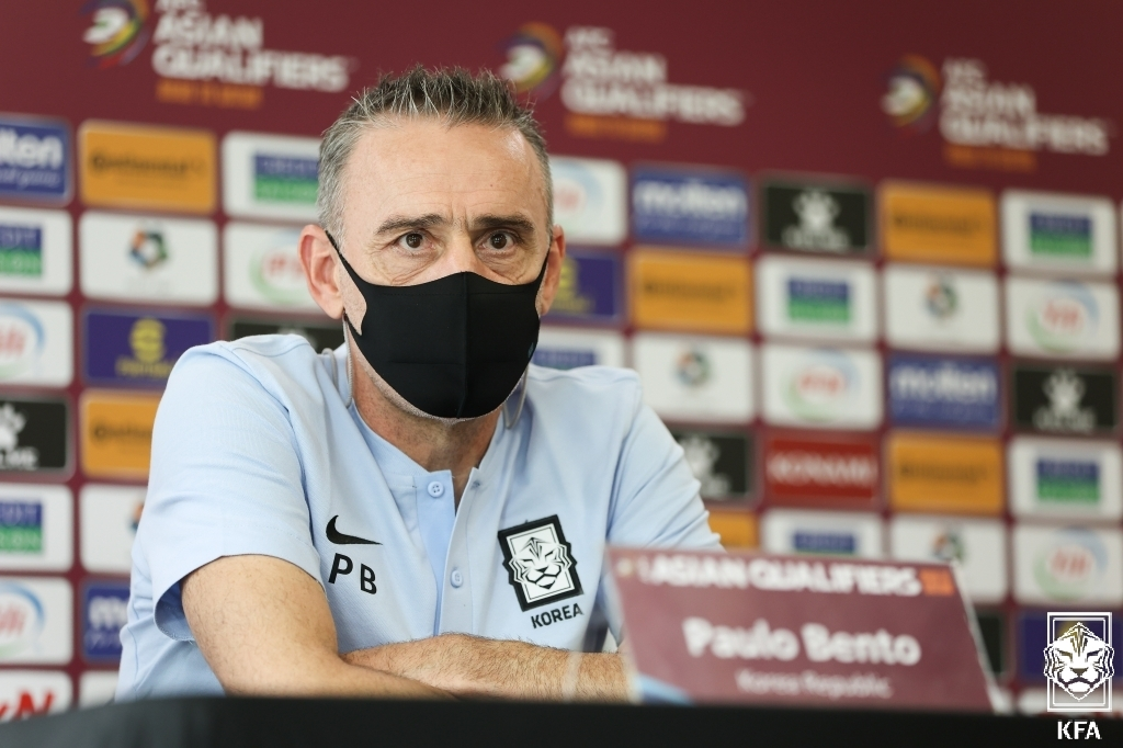 Paulo Bento, head coach of the South Korean men's national football team, speaks at a press conference at the National Football Center in Paju, Gyeonggi Province, on Sept. 1, 2021, ahead of a World Cup qualifier against Iraq, in this photo provided by the Korea Football Association. (PHOTO NOT FOR SALE) (Yonhap)