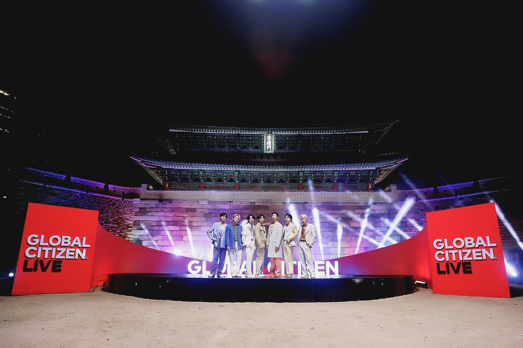 """This photo, provided by Big Hit Music, shows BTS posing in front of Sungnye Gate in Seoul for """"Global Citizen Live."""" (PHOTO NOT FOR SALE) (Yonhap)"""