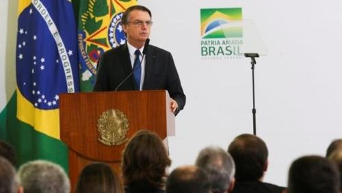 보우소나루 대통령이 취임 100일 기념행사에서 연설하고 있다. [브라질 뉴스포털 G1]