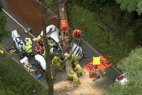 호주 멜버른 북서쪽 블랙스퍼에서 강풍으로 무너진 가로수에 깔린 자동차