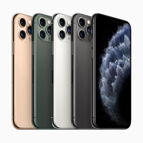 아이폰 11 프로·프로 맥스는 미드나이트 그린, 스페이스 그레이, 실버, 골드 등 네 가지 색상으로 출시된다. [애플 제공=연합뉴스]