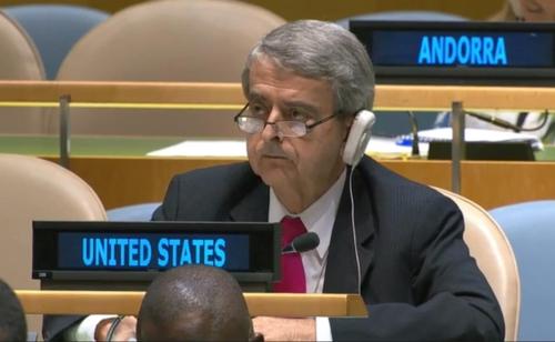 유엔주재 미국대표부 관계자, 김성 북한 유엔대사 연설 경청