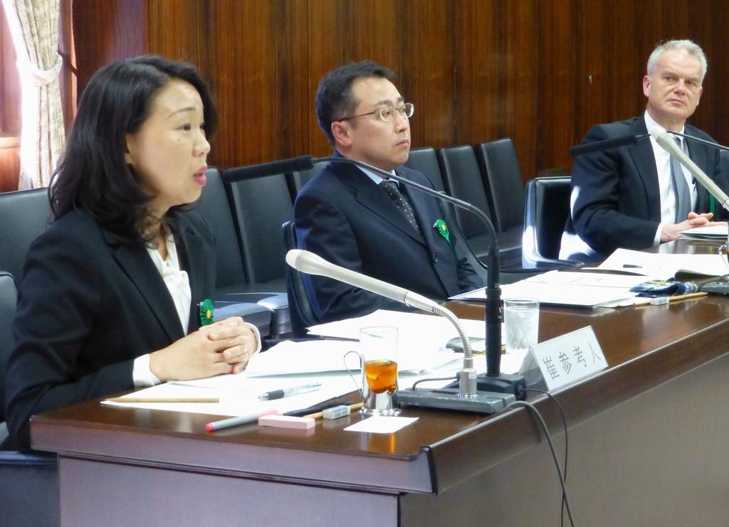 2016년 3월 22일 최강이자 씨가 일본 참의원 법무위원회에 참고인으로 출석해 헤이트 스피치에 관해 발언하고 있다. [교도=연합뉴스 자료사진]