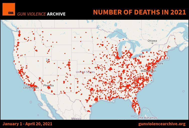 2021년 미국 총기 사건·사고 현황 지도