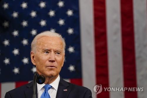 바이든 대통령이 28일(현지시간) 취임 후 첫 상·하원 합동연설을 하고 있다. [EPA=연합뉴스]