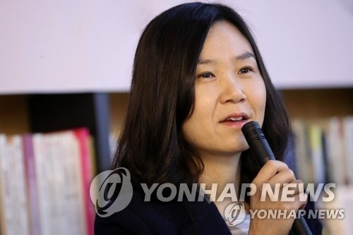 "This file photo provided by publisher Dasan Books, shows ""Kim Ji-young, Born 1982"" author Cho Nam-joo speaking at an event. (PHOTO NOT FOR SALE) (YONHAP)"