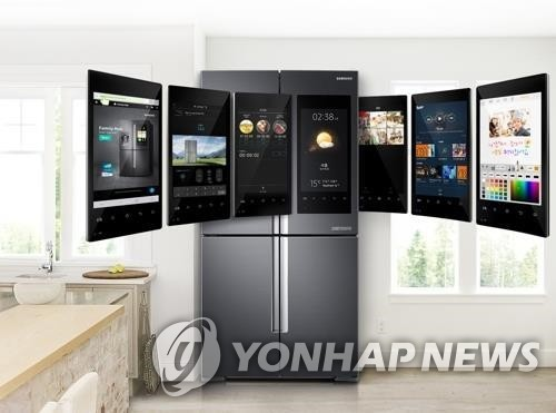 This image, provided by Samsung Electronics Co., shows its Family Hub refrigerator, which features a voice command function and Internet-of-Things technology. (Yonhap)