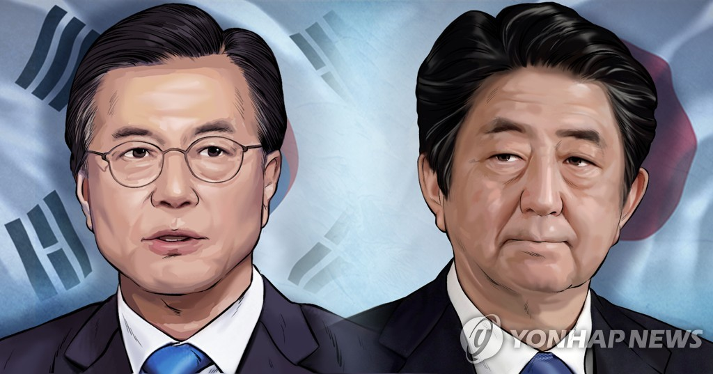A combined image of South Korean President Moon Jae-in (L) and Japanese Prime Minister Shinzo Abe (Yonhap)