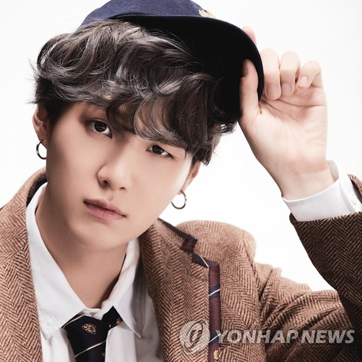 This photo, provided by Big Hit Entertainment, shows BTS member Suga. (PHOTO NOT FOR SALE) (Yonhap)