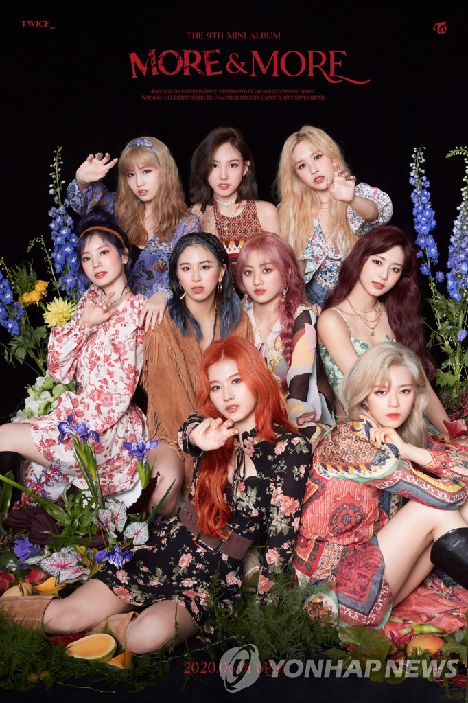 "A publicity image for K-pop band TWICE's ninth EP, ""More & More,"" provided by JYP Entertainment. (PHOTO NOT FOR SALE) (Yonhap)"