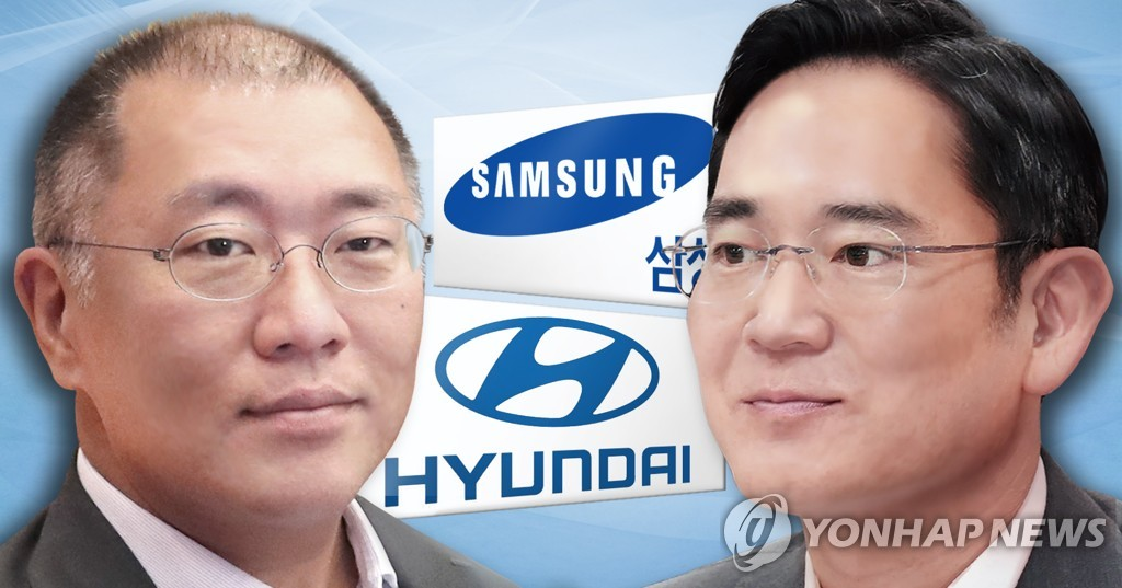 This file image shows Chung Eui-sun (L), executive vice chairman of Hyundai Motor Group, and Lee Jae-yong (R), vice chairman of Samsung Electronics. (Yonhap)