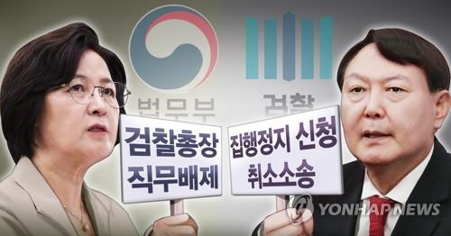 秋 수사의뢰·징계위 통보 vs 尹 직무정지 취소 소송(종합) | 연합뉴스