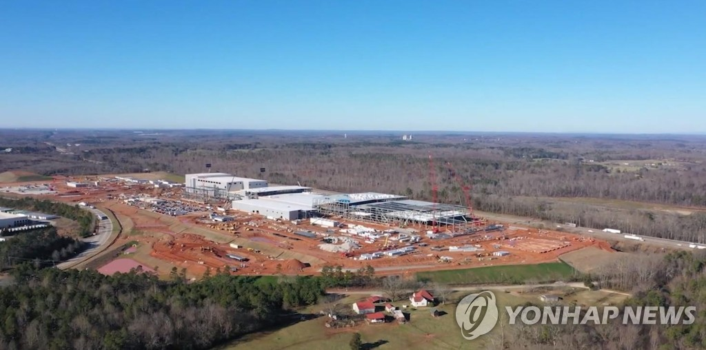 SK Innovation Co.'s electric vehicle battery factory under construction in the U.S. state of Georgia is seen in this photo provided by the Korean battery maker on Feb. 16, 2021. (PHOTO NOT FOR SALE) (Yonhap)
