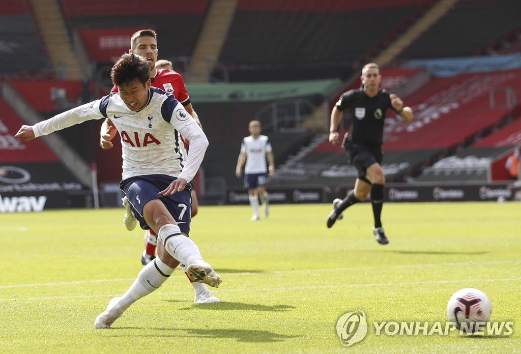 In this EPA photo, Son Heung-min of Tottenham Hotspur scores the third of his four goals against Southampton during a Premier League match at St Mary's Stadium in Southampton, England, on Sept. 20, 2020. (Yonhap)