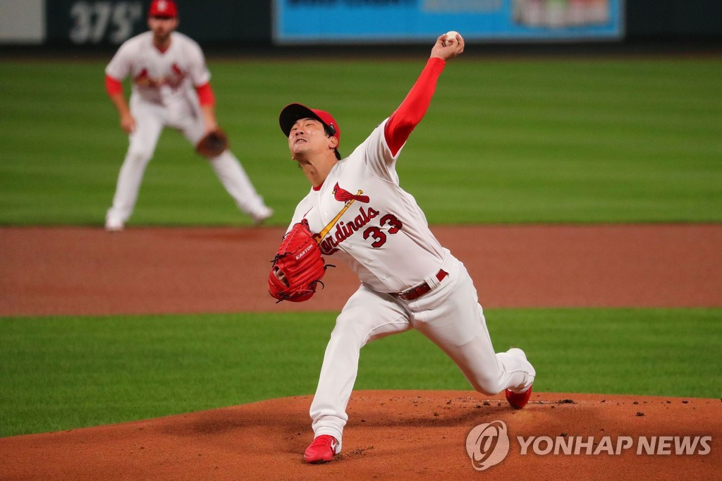 In this Getty Images photo, Kim Kwang-hyun of the St. Louis Cardinals pitches against the Milwaukee Brewers in the top of the first inning of a Major League Baseball regular season game at Busch Stadium in St. Louis on Sept. 24, 2020. (Yonhap)