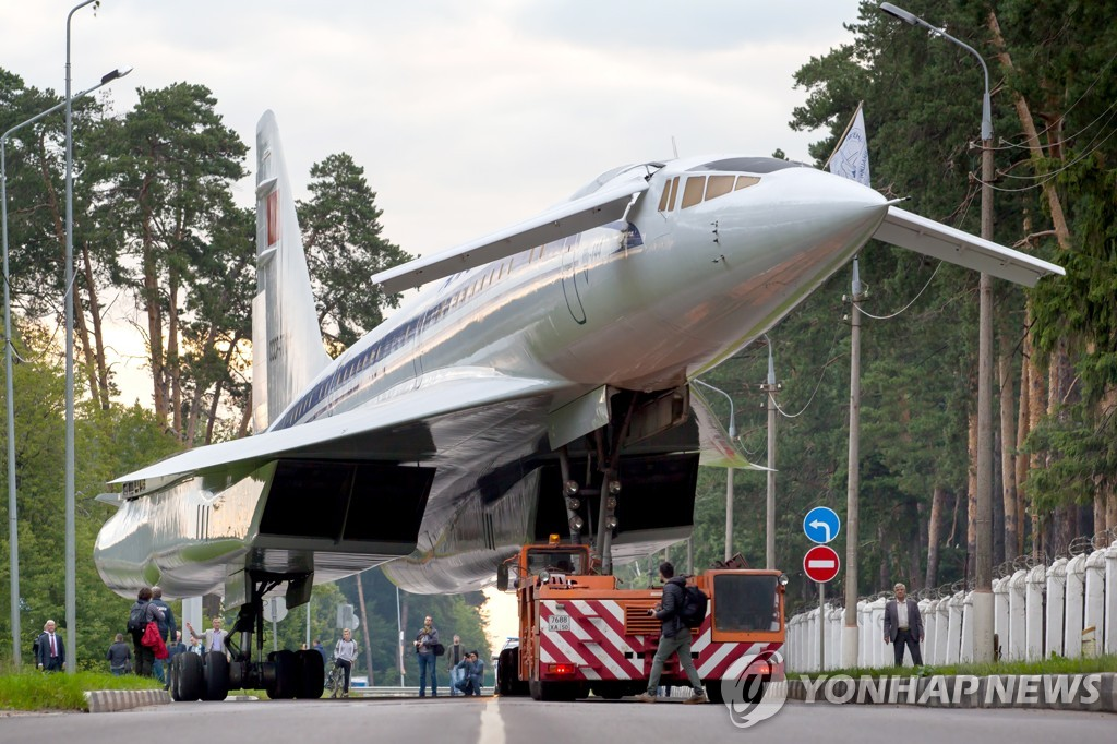 Towing Tupolev Tu-144 supersonic jet airliner in Zhukovsky, Moscow Region