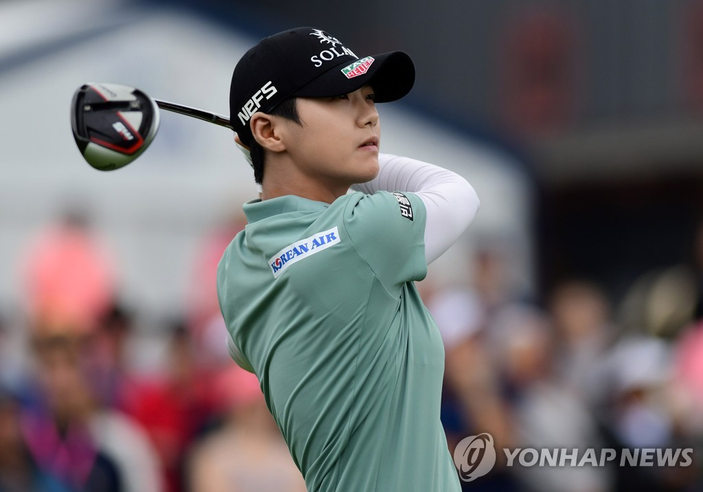 In this Reuters photo via USA Today Sports, Park Sung-hyun of South Korea watches her tee shot at the first hole during the final round of the KPMG Women's PGA Championship at Hazeltine National Golf Club in Chaska, Minnesota, on June 23, 2019. (PHOTO NOT FOR SALE) (Yonhap)