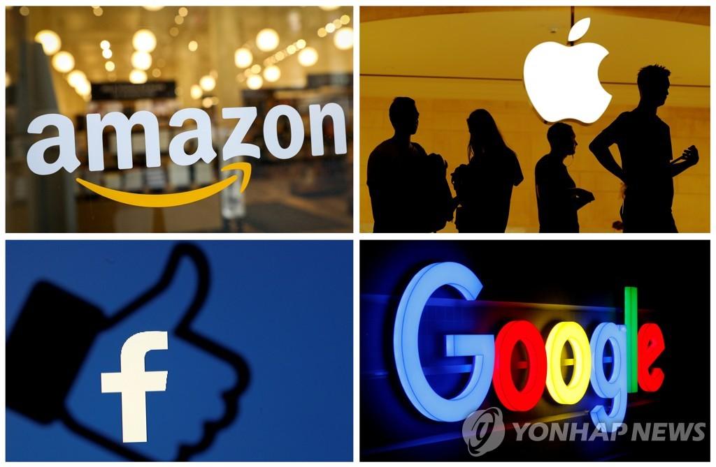 미국계 IT 대기업들의 로고. 윗줄 왼쪽부터 시계방향으로 아마존, 애플, 구글, 페이스북. 프랑스가 작년 도입한 디지털세는 미국 IT 대기업 네 곳의 이름 앞자를 따 GAFA세라고도 불린다. [로이터=연합뉴스 자료사진]