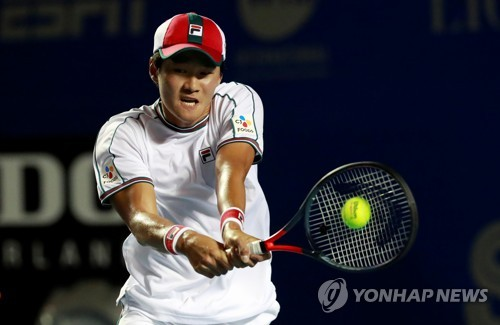 In this Reuters photo, Kwon Soon-woo of South Korea hits a shot against Rafael Nadal of Spain in the quarterfinals match at the Mexican Open on the ATP Tour at Princess Acapulco Stadium in Acapulco, Mexico, on Feb. 27, 2020. (Yonhap)