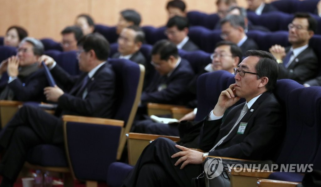 South Korea's Ambassador to the United Nations Cho Tae-yul attends a lecture at Seoul's foreign ministry in this photo provided by the Joint Press Corps. (Yonhap)