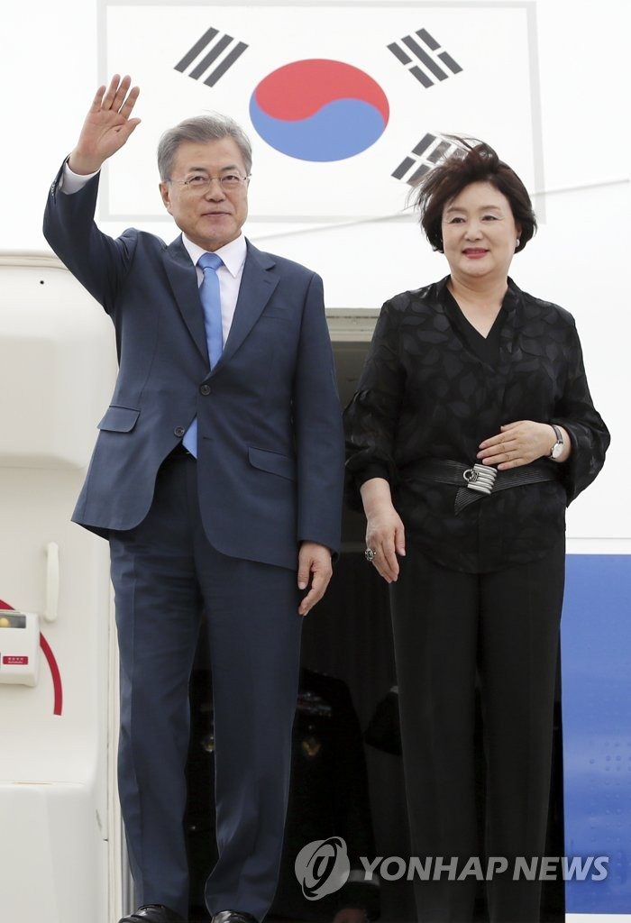 (LEAD) S. Korean president arrives in Argentina for G-20 summit