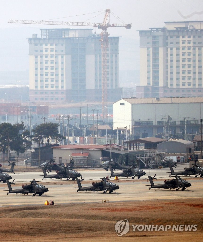 Military choppers are grounded at U.S. base Camp Humphreys in Pyeongtaek, 70 kilometers south of Seoul, on March 3, 2019. South Korea and the United States announced on the day that they will launch their new joint maneuver named Dong Maeng on March 4 that will replace what have been their annual springtime maneuvers: Key Resolve and Foal Eagle. (Yonhap)