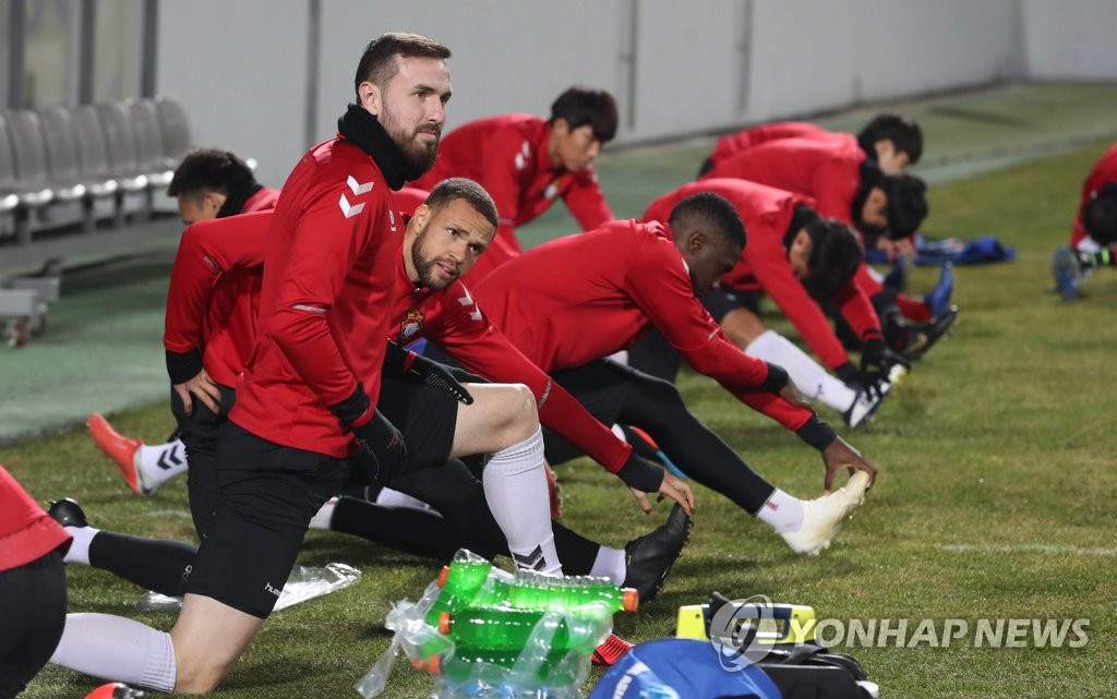 In this file photo, taken on March 4, 2019, Gyeongnam FC players train at Changwon Football Center in Changwon, South Gyeongsang Province. (Yonhap)
