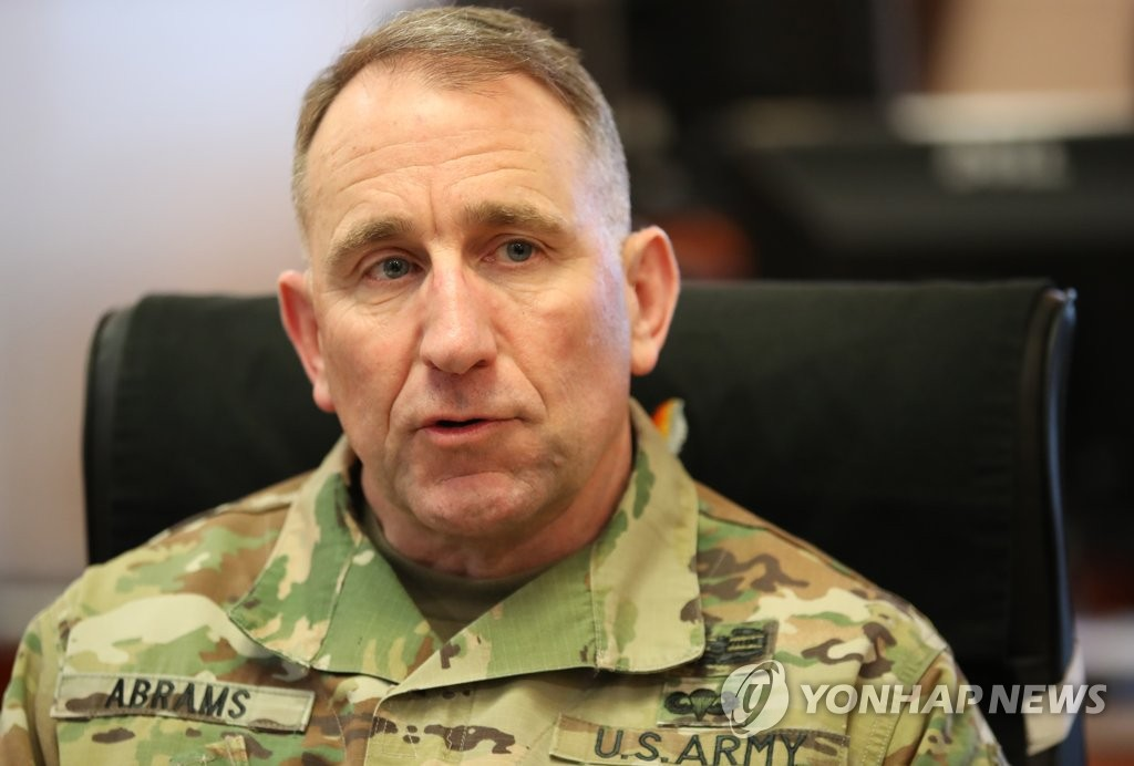 U.S. Forces Korea (USFK) Commander Gen. Robert Abrams speaks during an exclusive interview with Yonhap News Agency at his office in Yongsan Garrison in central Seoul on March 13, 2019. (Yonhap)