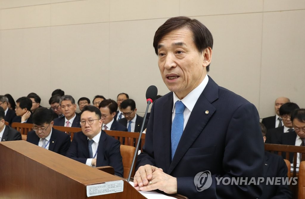 Bank of Korea Gov. Lee Ju-yeol speaks at a parliamentary session in Seoul on March 25, 2019. (Yonhap)