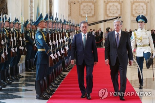 (LEAD) Leaders of S. Korea, Kazakhstan agree to boost ties with 'fresh' cooperation