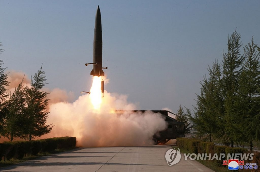 A short-range missile is launched from Kusong, North Pyongan Province in the northwestern part of North Korea, on May 9, 2019, in this photo released by the Korean Central News Agency. (For Use Only in the Republic of Korea. No Redistribution) (Yonhap)