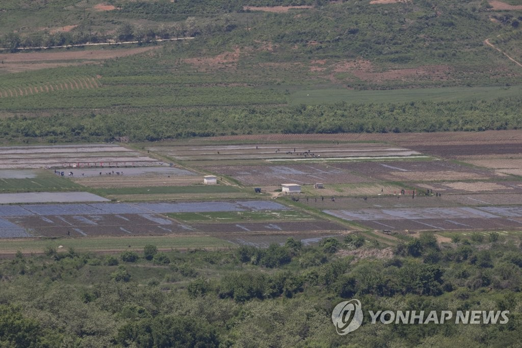 This file photo, taken on May 21, 2019, shows a plot of land in North Korea seen from the Dora Observatory in Paju, north of Seoul. (Yonhap)