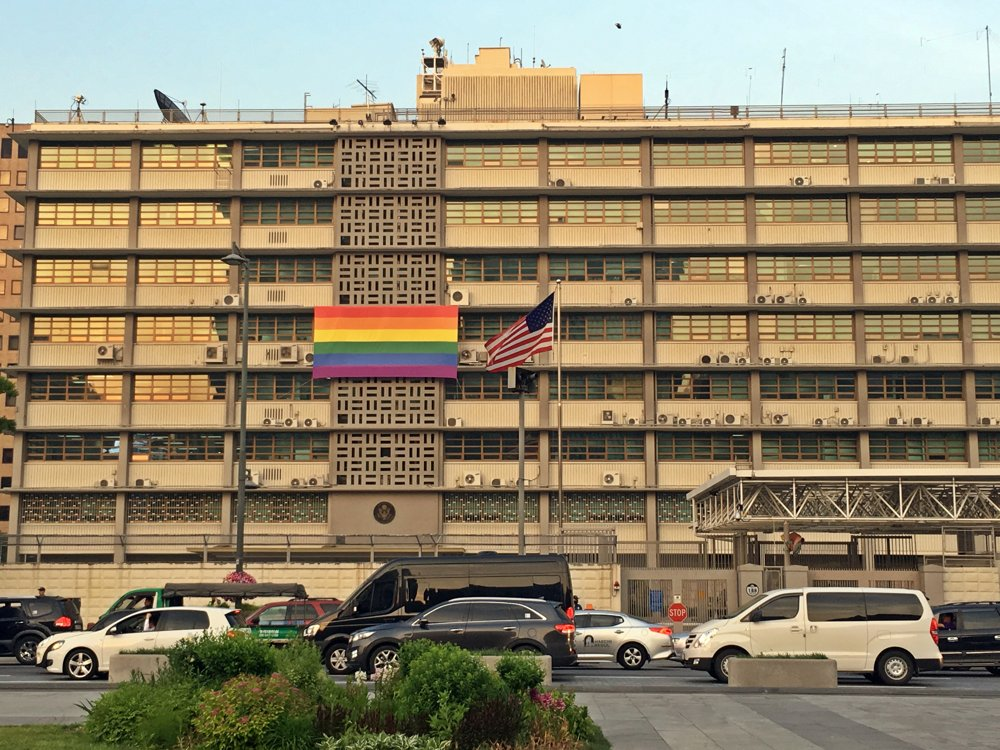 U.S. Embassy in Seoul flies rainbow flag