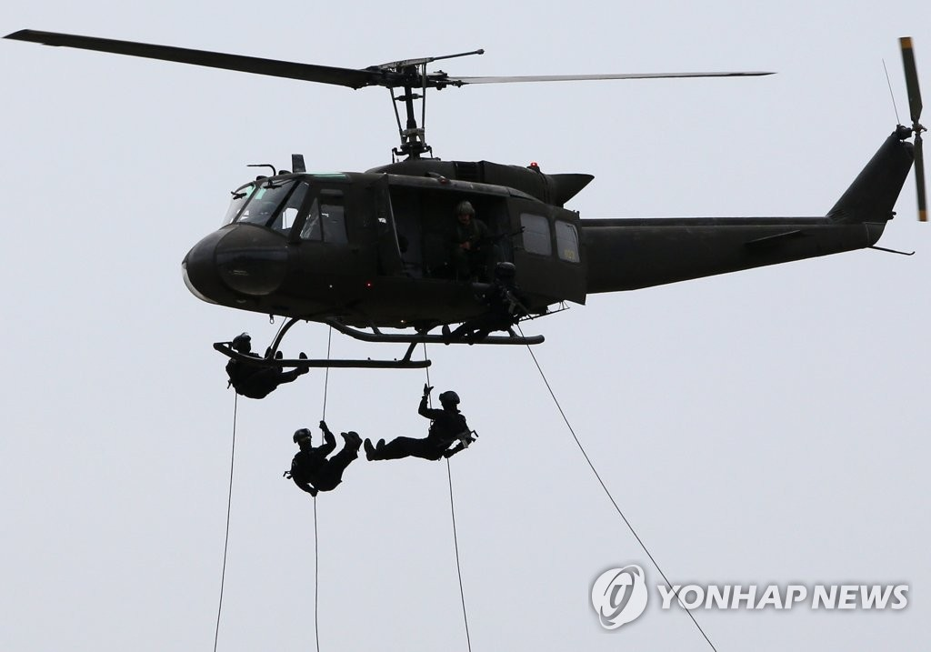 This photo shows a counterterrorism exercise being carried out at the Korea International Exhibition Center in Goyang, Gyeonggi Province, on May 30, 2019, as part of the Ulchi Taegeuk exercise. (Yonhap)