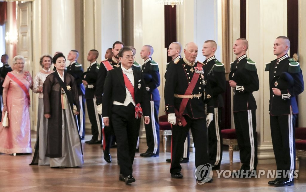 Moon attends state dinner in Oslo