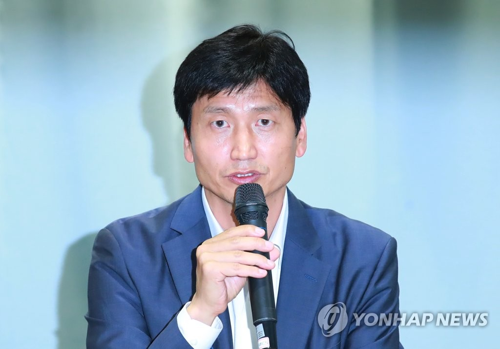 Chung Jung-yong, head coach of the South Korean men's under-20 football team, speaks at a press conference discussing the team's runner-up finish at the FIFA U-20 World Cup at the Korea Football Association House in Seoul on June 20, 2019. (Yonhap)